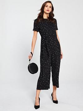 10ea245cdab Warehouse Estella Star Print Jumpsuit - Black