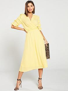 vero-moda-gabriella-ruffled-wrap-midi-dress-yellow