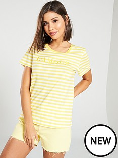 caab6241379ce Vero Moda Amour Francis Striped Slogan Top - Yellow