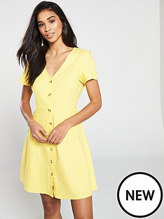 13787312539a5 Vero Moda Vero Moda Yellow Short Dress With V-neck And Button Detailing