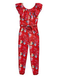 6174eecc41a V by Very Girls Red Floral Ruffle Jumpsuit - Multi