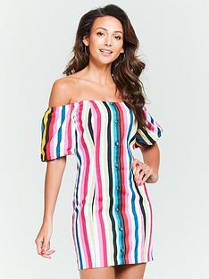 michelle-keegan-bardot-button-linen-dress-stripe