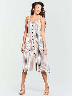 michelle-keegan-button-front-midi-dress-stripe