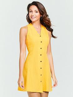 michelle-keegan-linen-mini-dress-yellow