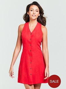 michelle-keegan-linen-mini-dress-red