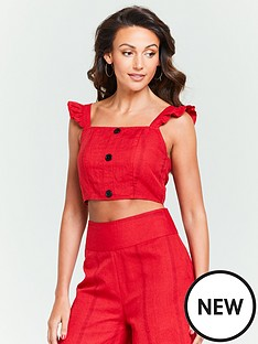 michelle-keegan-square-neck-linen-co-ord-top-red