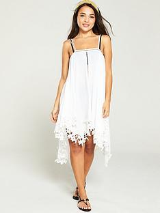 974f529094 V by Very Hanky Hem Lace Trim Strappy Beach Dress - White