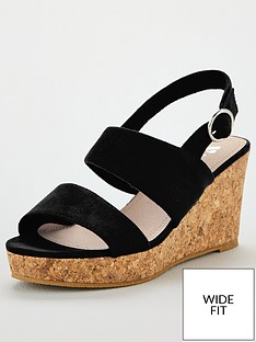 b59a9677a40 V by Very Giselle Wide Fit Double Strap Wedge Sandals - Black