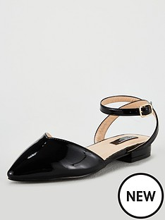 65a6a53e4124 Lost Ink Wide Fit Kim Ballerina with Ankle Strap - Black
