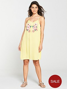 v-by-very-embellished-sequin-beach-dress-yellow