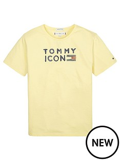 tommy-hilfiger-girls-short-sleeve-icon-glitter-t-shirt-lemon