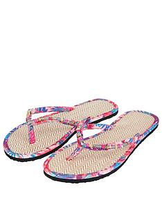 48d7be3a0fc8d Accessorize Mozambique Print Seagrass Flip Flops - Pink · €20 · In Stock ·  Delivery · accessorize-ella-embroidered-slider-flat-sandal