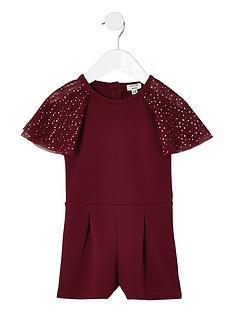 cd259b580786 River Island Mini Mini girls burgundy mesh sleeve playsuit