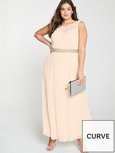 f971e8f948254 Little Mistress Curve Beaded Waist Bridesmaid Maxi Dress - Blush