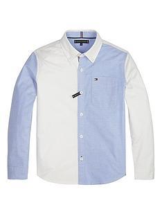 71e0afb1b Tommy Hilfiger Boys Long Sleeve Colour Block Shirt - White