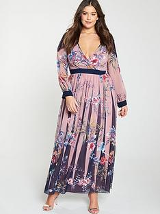 e32609b6f1f3 Little Mistress Curve Wrap Printed Floral Maxi Dress With Lace Trim
