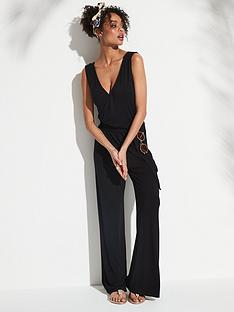 367b8d3e1084 V by Very Belted Wrap Wide Leg Jumpsuit - Black