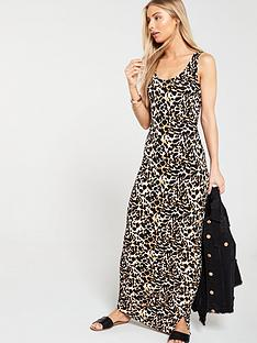 59b4e64efac V by Very Side Gather Jersey Maxi Dress - Animal Print