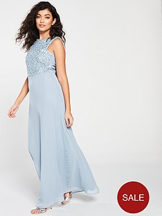 97421dc864 Little Mistress Little Mistress Bridesmaid High Neck Embellished Top Cowl  Back Maxi Dress