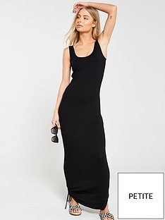 v-by-very-petite-side-gather-jersey-maxi-dress-black