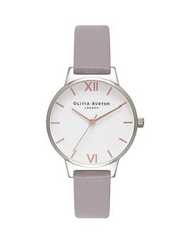 43b38c3ee Olivia Burton Olivia Burton White with Rose Gold and Silver Detail Midi Dial  Lilac Leather Strap Ladies Watch. View larger