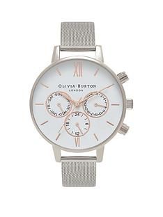 olivia-burton-olivia-burton-white-and-rose-gold-detail-chronograph-big-dial-stainless-steel-mesh-strap-ladies-watch