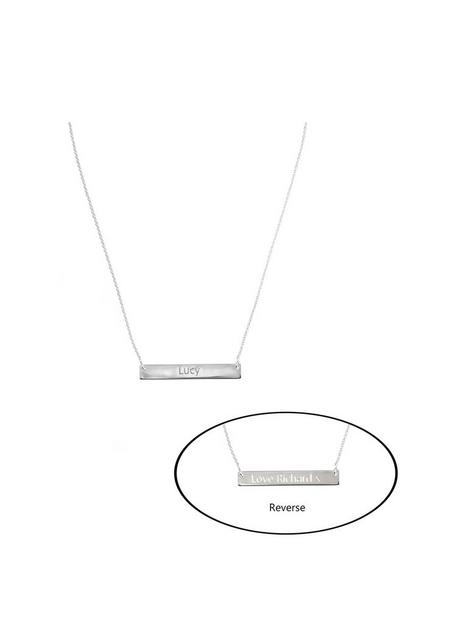 the-love-silver-collection-personalised-sterling-silver-polished-bar-reversible-necklace