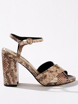 6170efbf9f09 Miss Selfridge Cross Over Block Heel Sandals - Snake ...