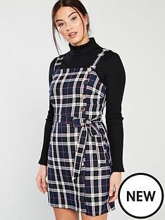 miss-selfridge-miss-selfridge-blue-check-tie-waist-pinny-dress