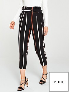 miss-selfridge-petite-stripe-paperbag-trouser-black