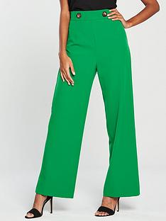 miss-selfridge-button-high-waist-wide-leg-trousers-green