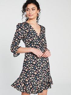 3279f2503f Oasis Garden Ditsy V Neck Skater Dress - Multi Blue