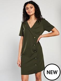 wallis-v-neck-button-ponte-dress-green