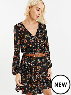 oasis-oasis-ditsy-spot-button-detail-skater-dress