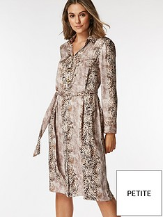 wallis-petite-snake-shirt-dress-neutral