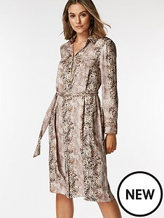 wallis-petite-snake-shirt-dress