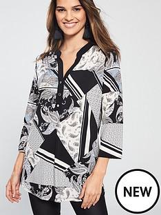 wallis-wallis-neutral-patchwork-cutabout-asymmetric-top