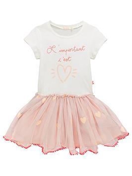 c7e3e868f Girls Embroidered Tutu Skirt T-Shirt Dress - White/Pink