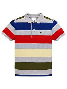 bfdf895d87b7 Lacoste Boys Short Sleeve Bold Stripe Pique Polo Shirt - Grey Multi