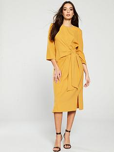 warehouse-twist-knot-dress-mustard