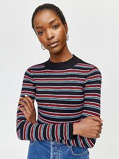 warehouse-rainbow-stripe-rib-jumper