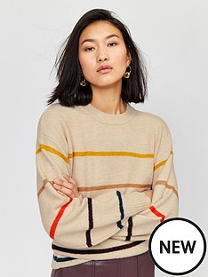 warehouse-cosy-fine-stripe-jumper-multi
