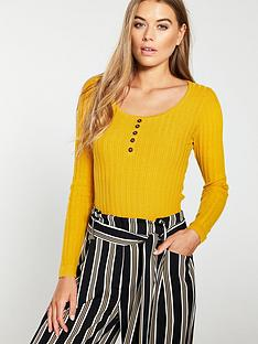 warehouse-stitchy-button-detail-jumper-yellow