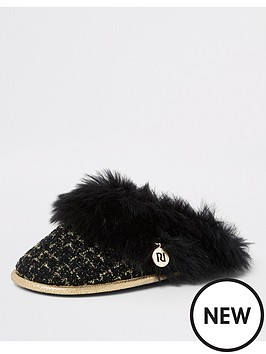 river-island-river-island-boucle-faux-fur-trim-slippers-black
