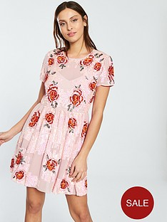 miss-selfridge-floral-embellished-fit-and-flare-dress-nude