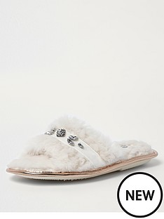 river-island-river-island-faux-fur-embellished-slippers-cream