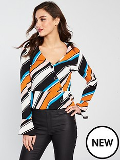 miss-selfridge-stripe-peplum-button-wrap