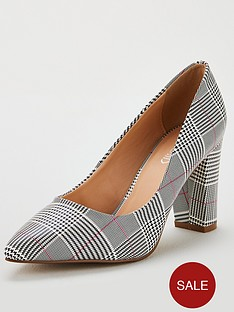 wallis-cinder-checkered-block-heeled-court-shoes-grey
