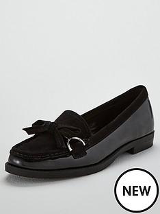 wallis-blair-buckle-bow-flat-loafers-black