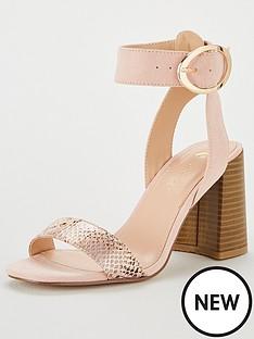 adb6f1ed9c92 V by Very Gigi Buckled Ankle Strap Heeled Sandal - Blush